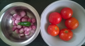 Tomatoes onions and green chilli